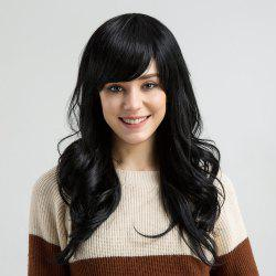 Long Side Bang Layered Wavy Human Hair Wig -