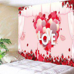 Valentine's Day Love Heart Printed Wall Art Tapestry -