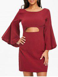 Bell Sleeve Bowknot Cut Out Shift Dress -