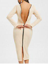 Long Sleeve Back Zip Up Bodycon Dress -