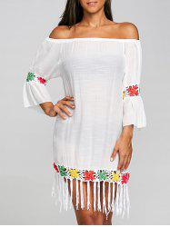 Fringed Crochet Insert Cover Up Dress -