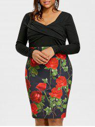 Plus Size Empire Waist Rose Bodycon Dress -