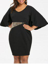 Plus Size Sequins Panel V Neck Caplet Dress -