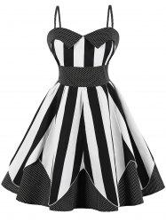 Plus Size Striped Polka Dot Vintage Dress -