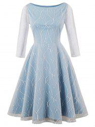Plus Size Overlay Lace Panel Vintage Dress -