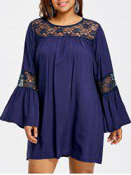 Lace Insert Bell Sleeve Plus Size Swing Dress -