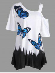 Plus Size Butterfly Print Tunic T-shirt -