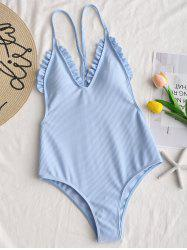 Cami Strap Ribbed Frilled Trim Swimsuit -