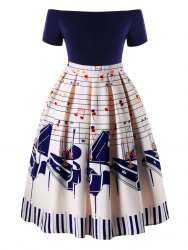 Plus Size Musique Notes Party Dress -