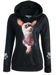 Drop Shoulder 3D Dog Print Hoodie -