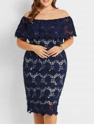 Plus Size Off The Shoulder Lace Sheath Dress -