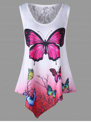 Asymmetrical Butterfly Ombre Color Tank Top -