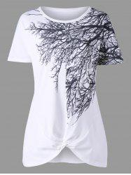 Tree Branch Print Front Knot Tee -