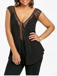 Plus Size See Thru Plunging Neck Tank Top -
