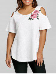 Plus Size Cold Shoulder Embroidery Appliqued T-shirt -