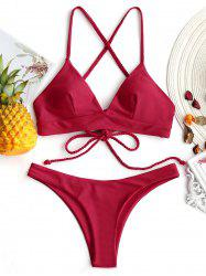 Cross Back Plaited Cami Bikini Set -