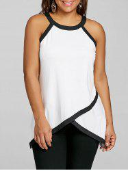 Plus Size Overlap Contrast Trim Tank Top -