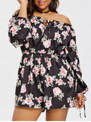 Floral Off The Shoulder Plus Size Romper -