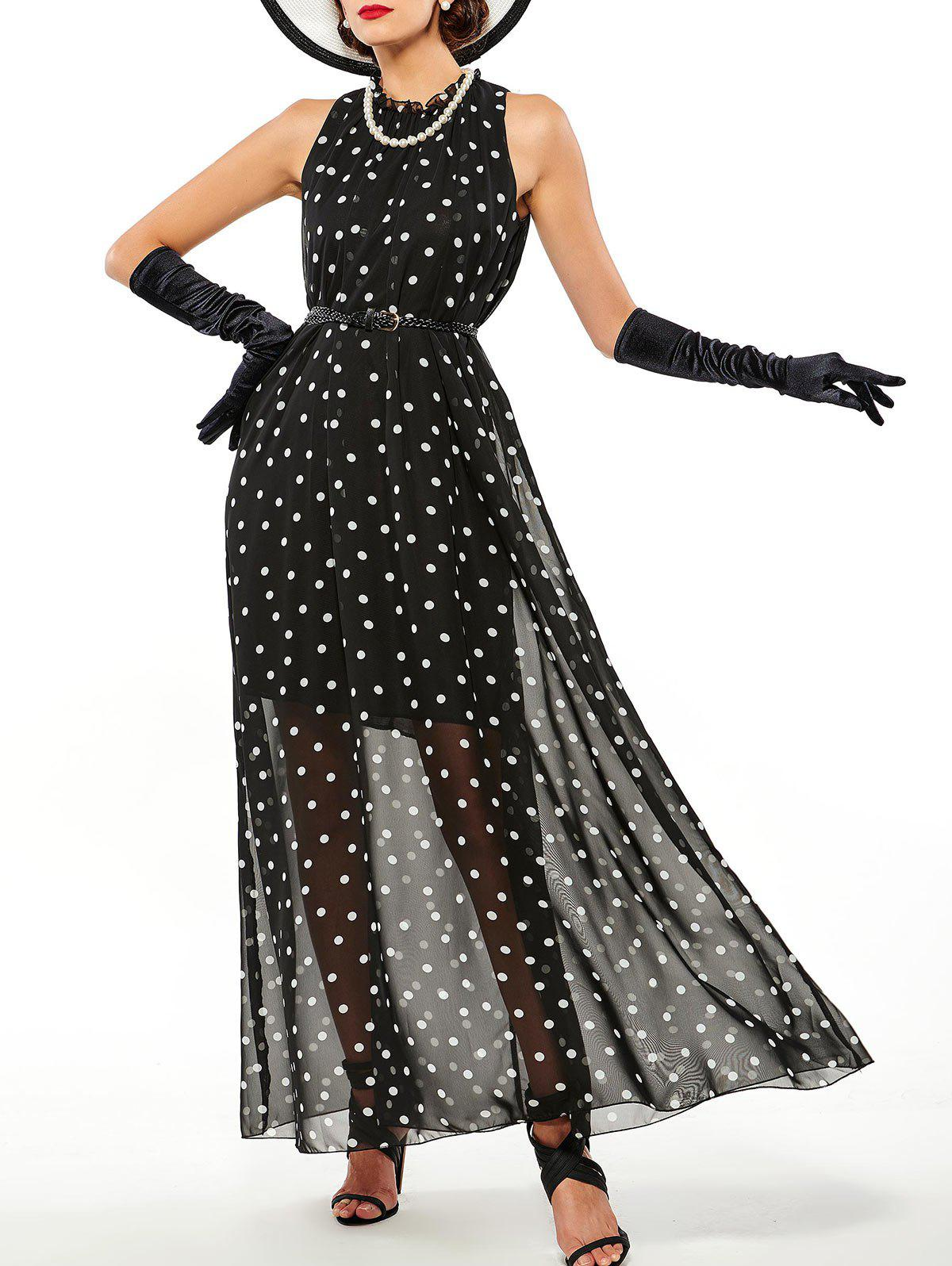 Affordable Overlay Polka Dot Sheer Maxi Dress