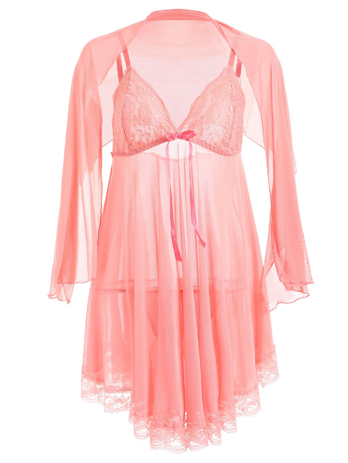 Affordable Plus Size Mesh Sheer Lingerie Babydoll with Cape
