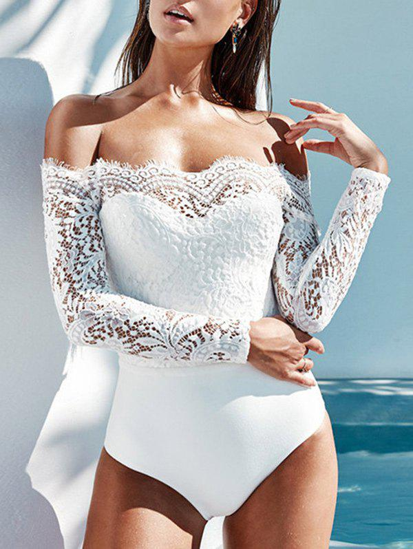 Chic Long Sleeve Lace Panel Bodysuit