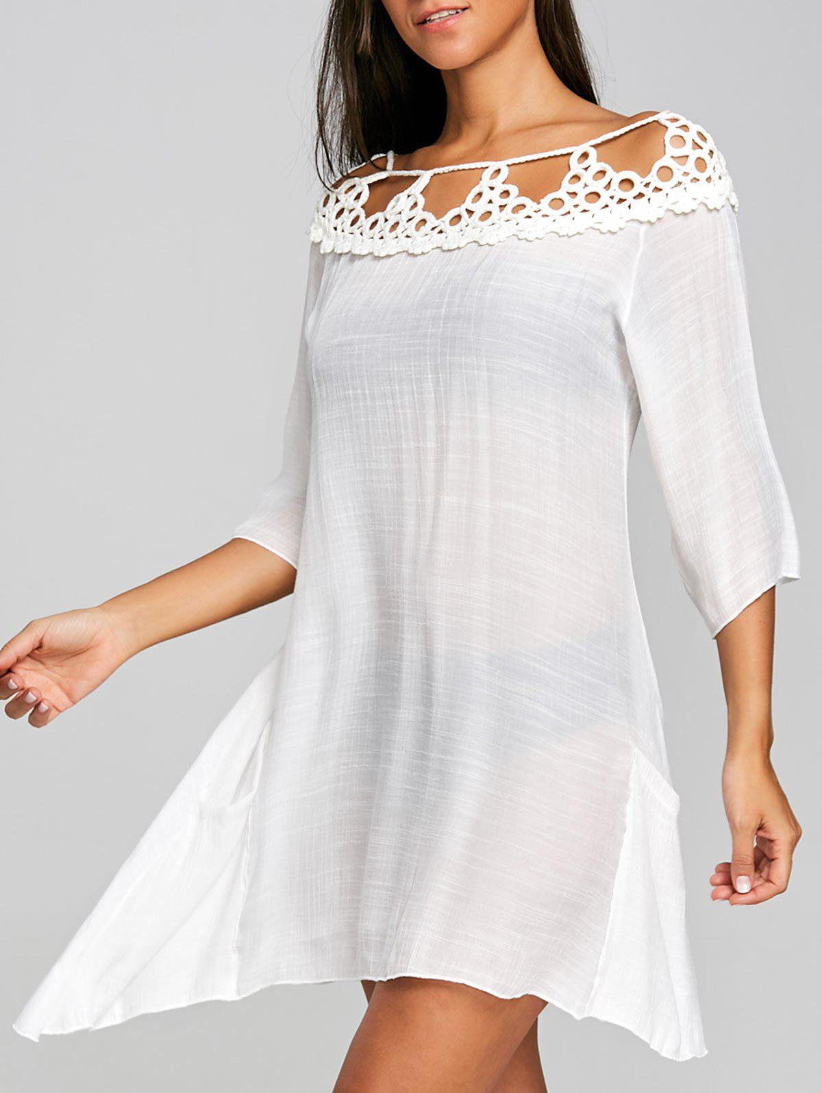 Shop Sheer Crochet Insert Cover Up Dress