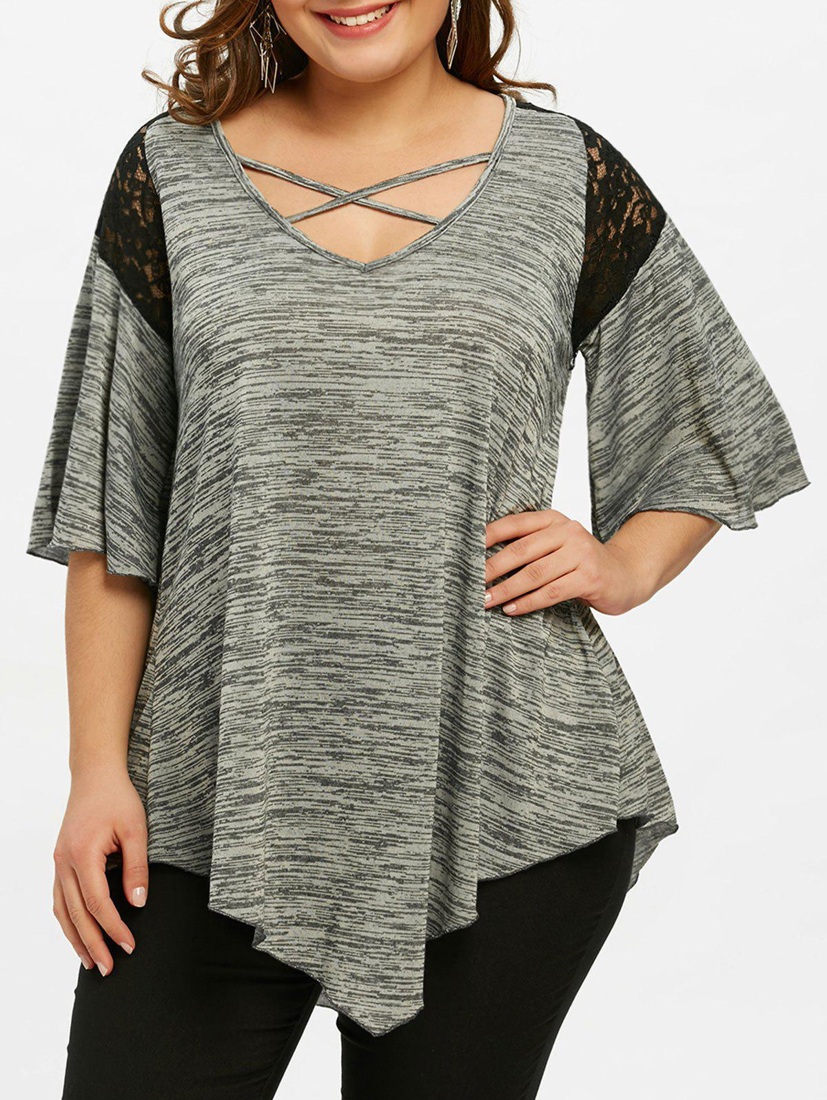 Online Plus Size Flare Sleeve Asymmetrical Tunic T-shirt
