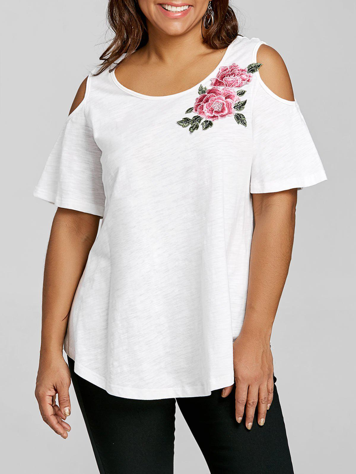 Plus Size Cold Shoulder Embroidery Appliqued T-shirt