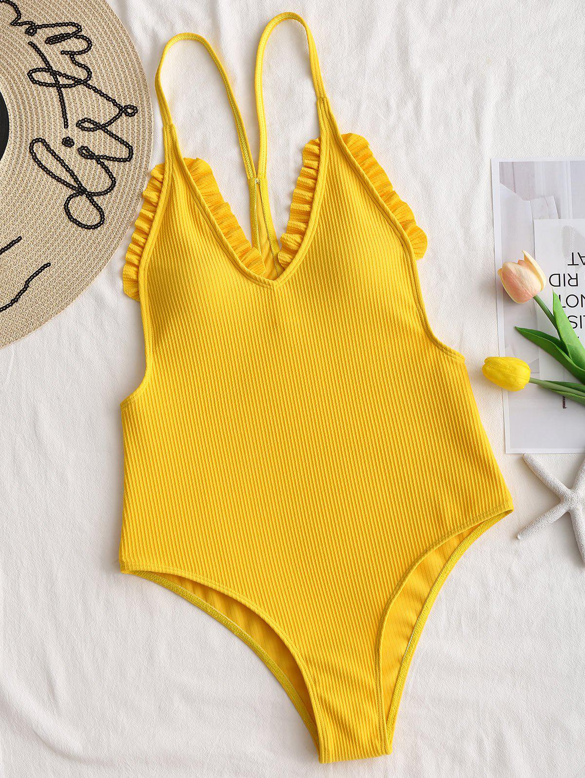 c00ab4243d7 35% OFF] Cami Strap Ribbed Frilled Trim Swimsuit | Rosegal