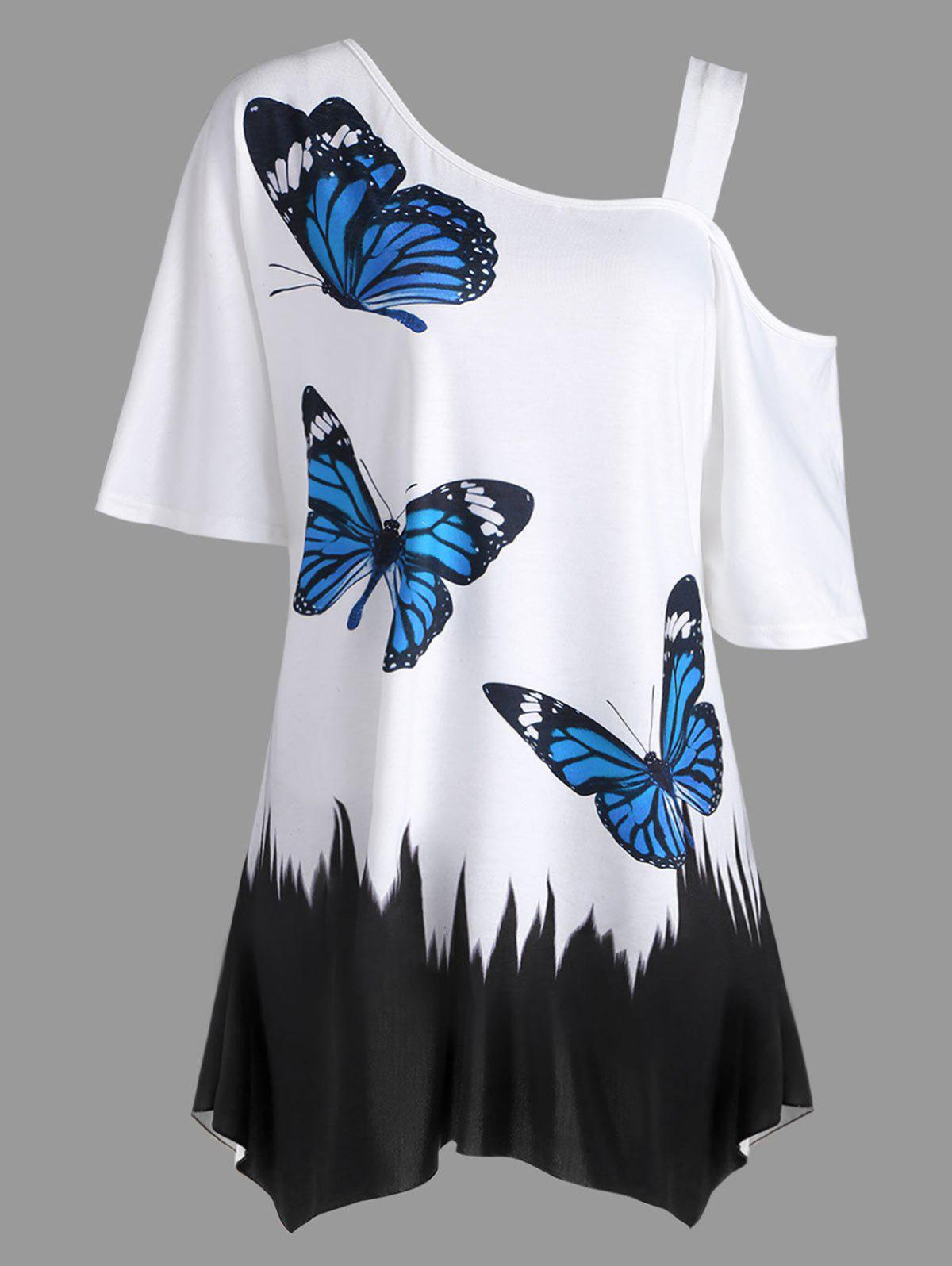 Shop Plus Size Butterfly Print Tunic T-shirt