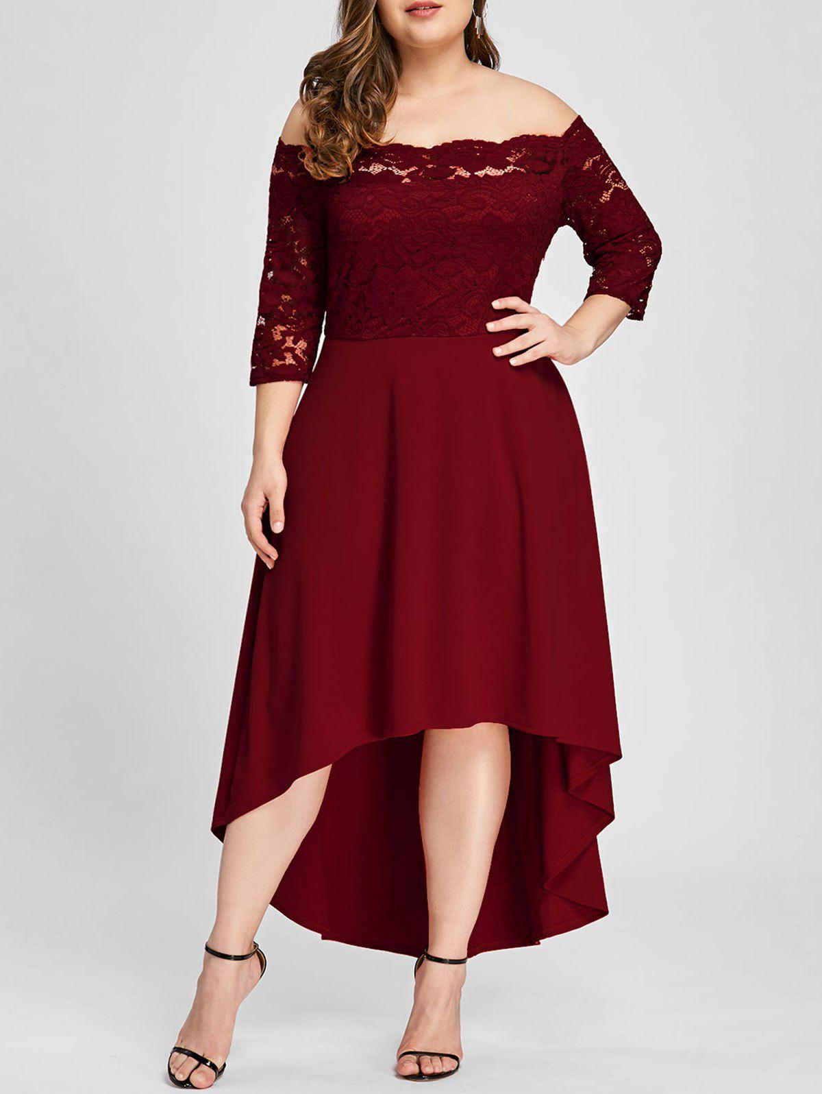 26% OFF] Plus Size Off Shoulder Lace High Low Dress | Rosegal