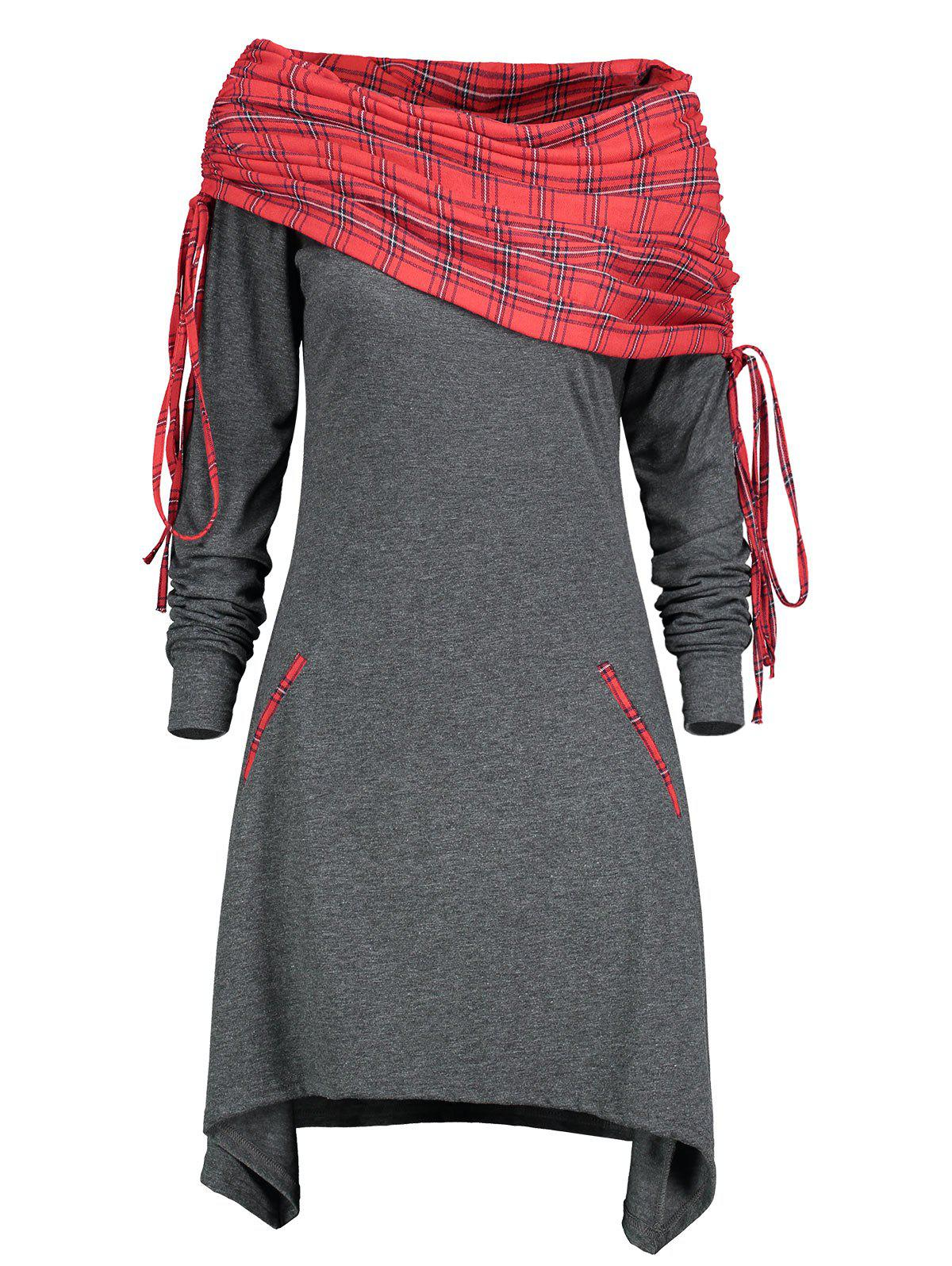 Hot Drawstring Tartan Panel Long Sleeve Dress