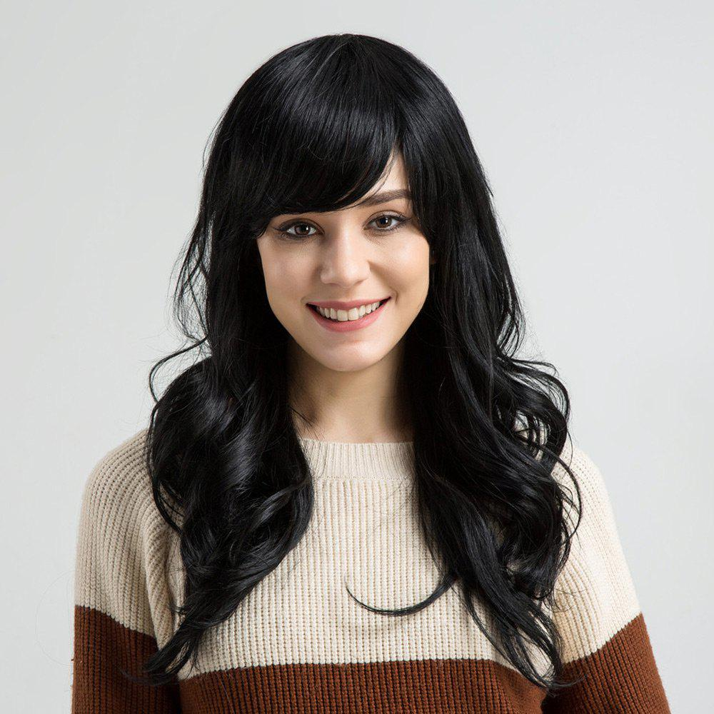 Outfit Long Side Bang Layered Wavy Human Hair Wig