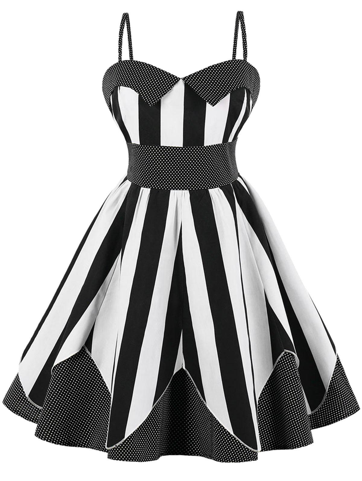 Best Plus Size Striped Polka Dot Vintage Dress