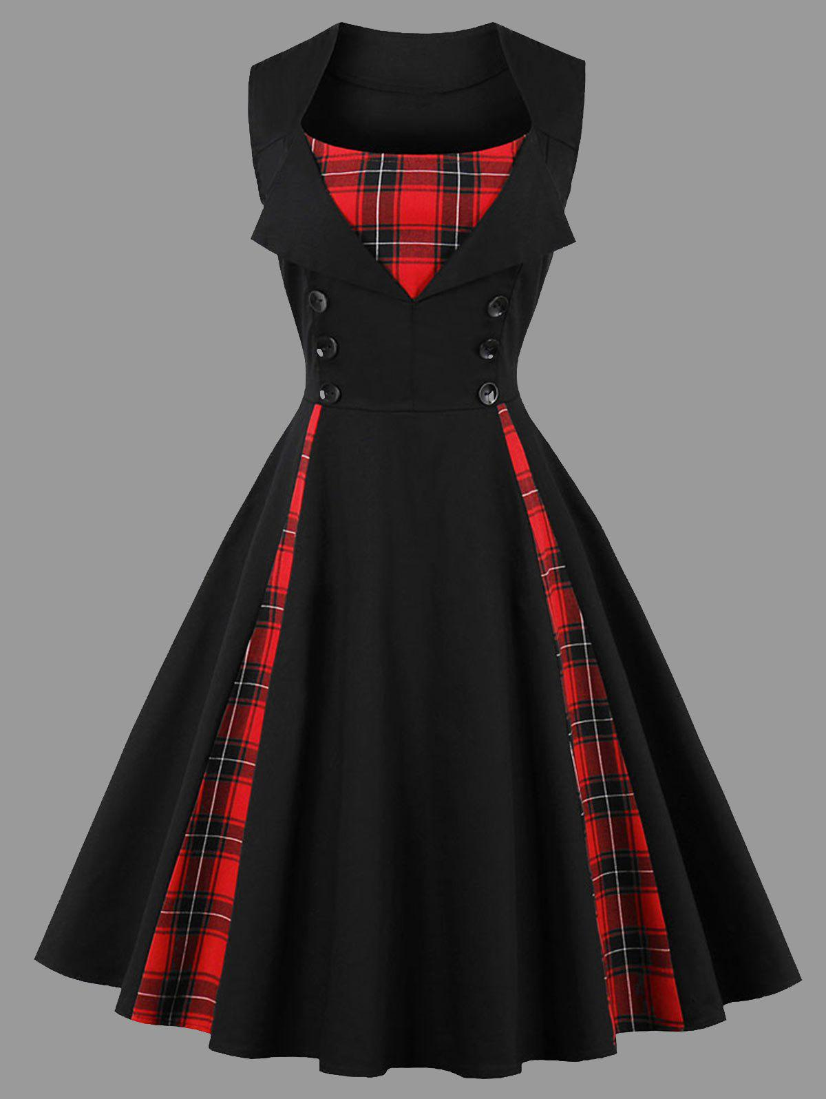 Shop Plus Size Sleeveless Plaid Insert Vintage Dress