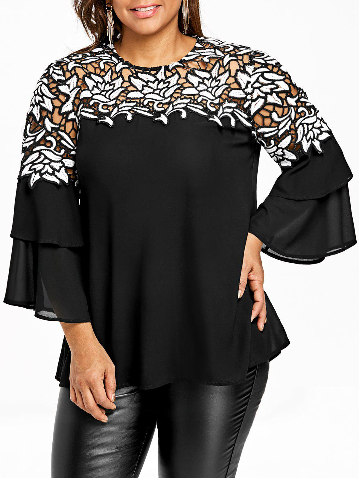 Trendy Plus Size Hollow Out Flare Sleeve Blouse
