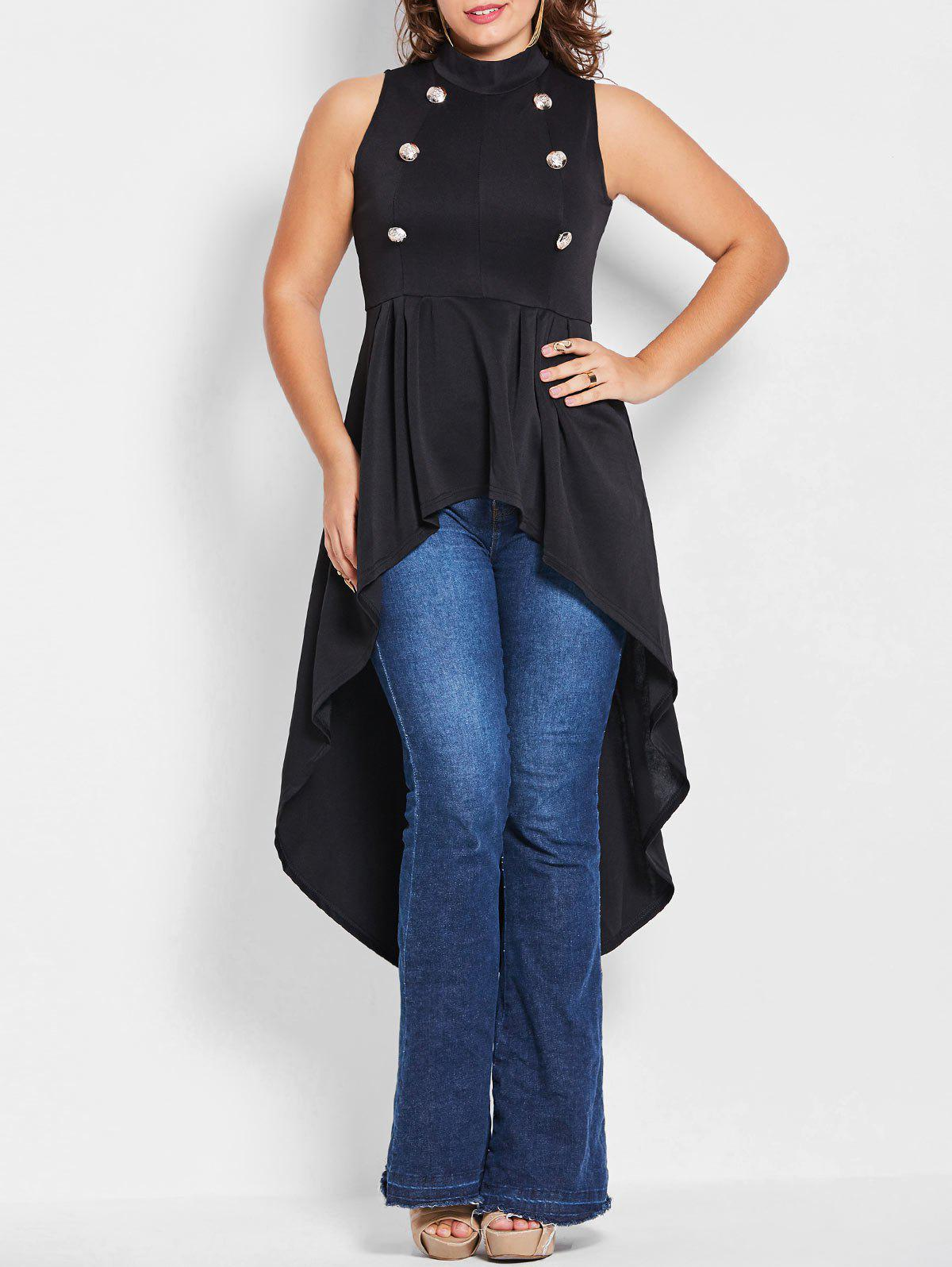 Outfit Gothic Plus Size Long High Low Top
