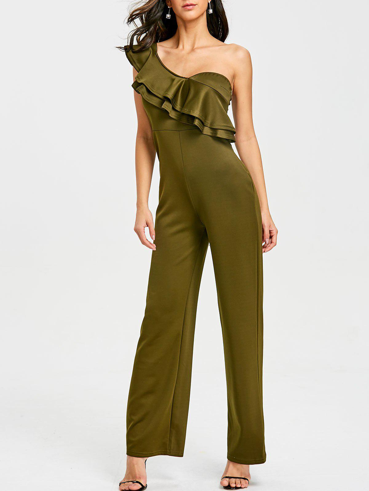 Fashion Ruffle One Shoulder Wide Leg Jumpsuit