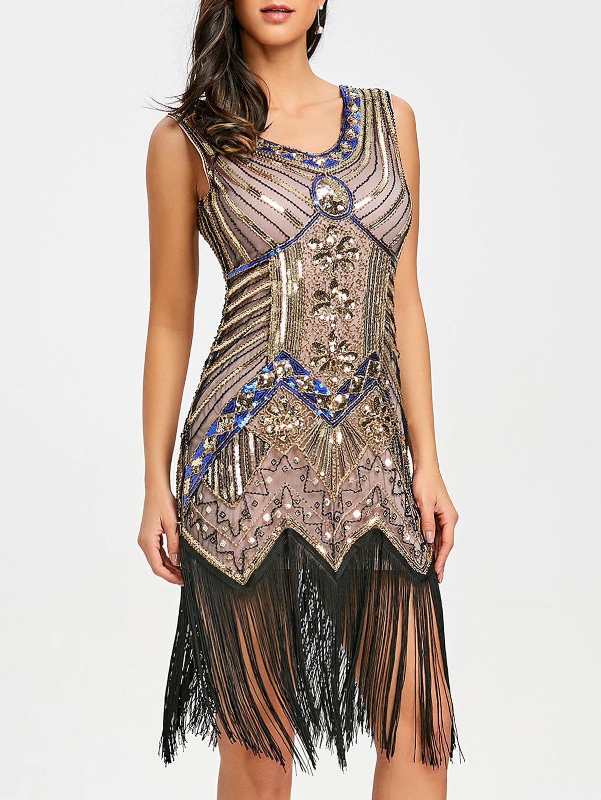 Affordable Fringed Sequin Midi Party Dress