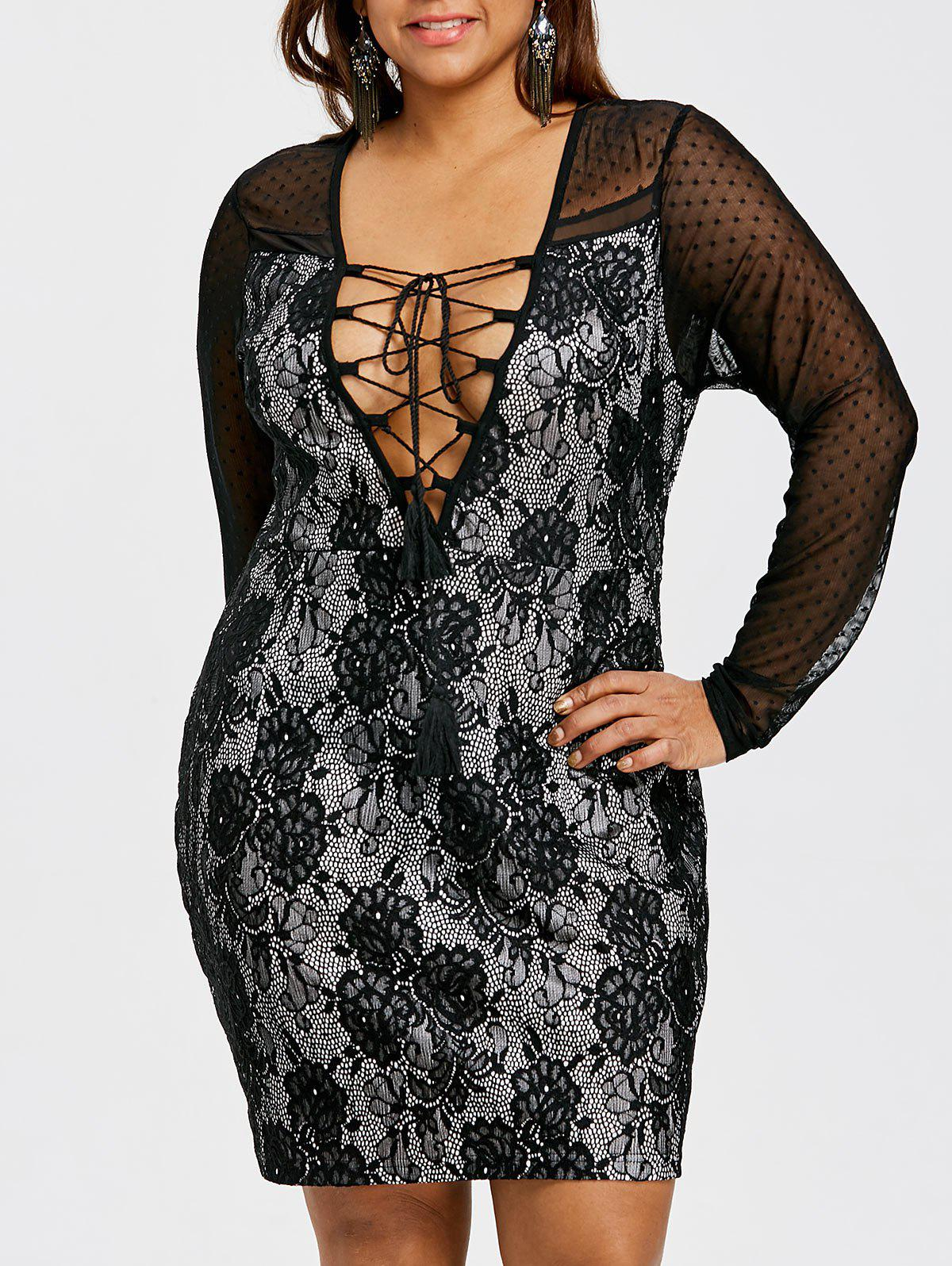 Chic Lace Up Mesh Insert Plus Size Dress