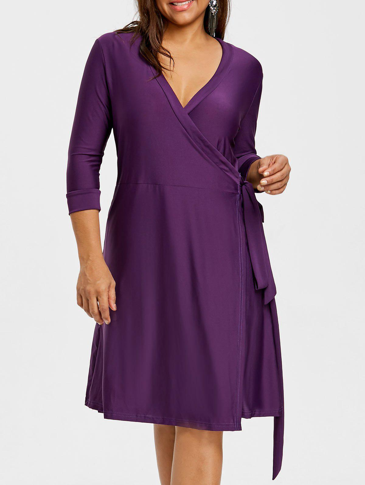Discount Tie Self Plus Size Jersey Dress
