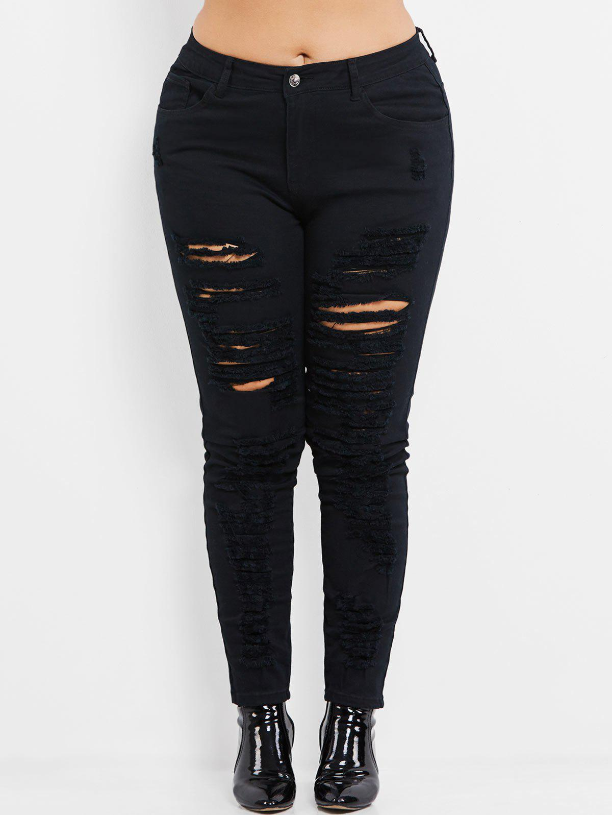 Chic Plus Size High Rise Ripped Jeans
