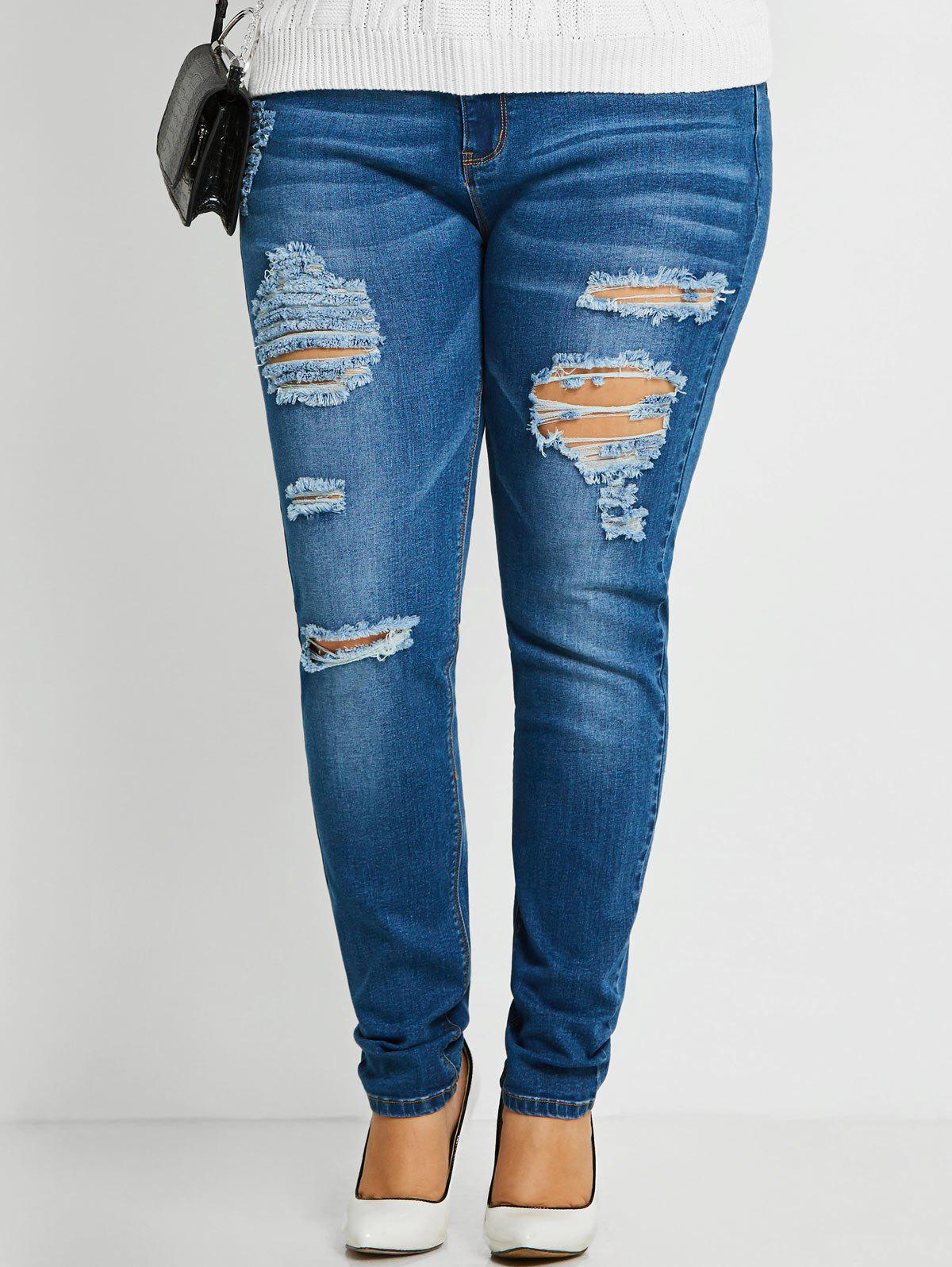 Online Distressed Plus Size Ripped Jeans