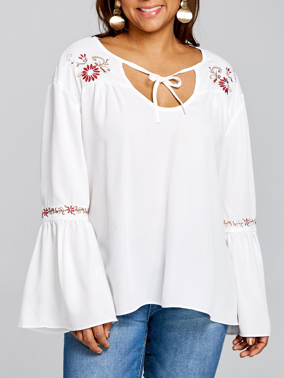 Fashion Plus Size Bell Sleeve Embroidery Smock Blouse