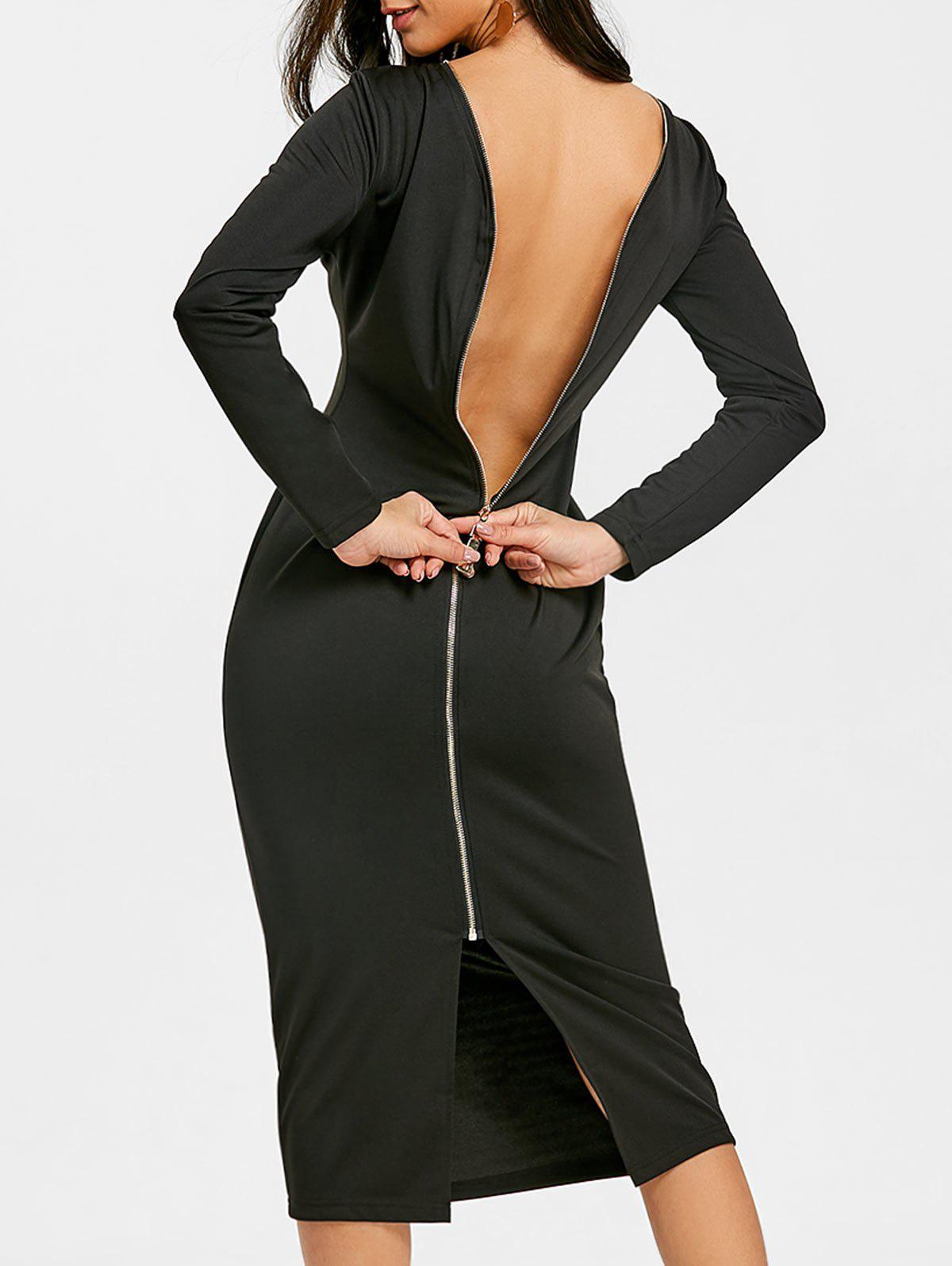 Store Long Sleeve Back Zip Up Bodycon Dress