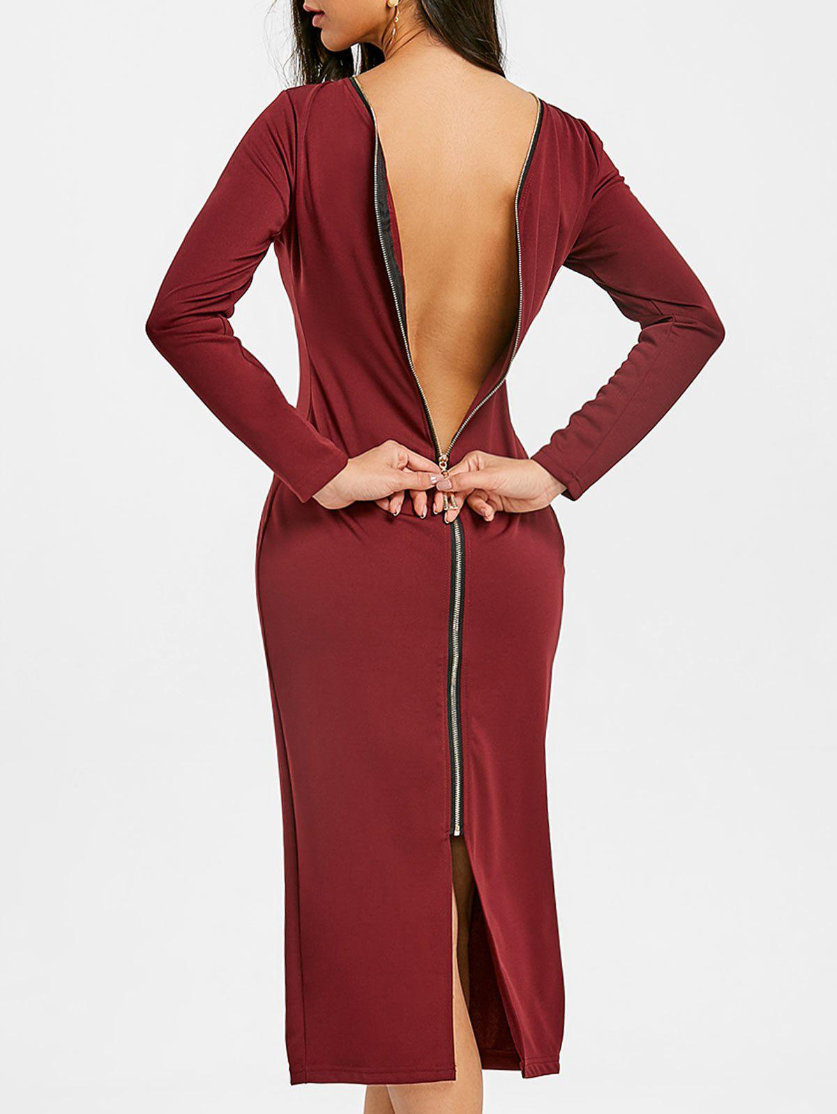 Fancy Long Sleeve Back Zip Up Bodycon Dress