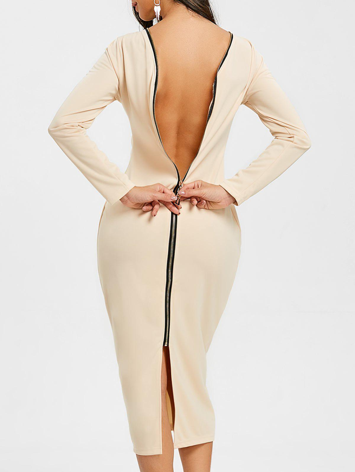 Shops Long Sleeve Back Zip Up Bodycon Dress