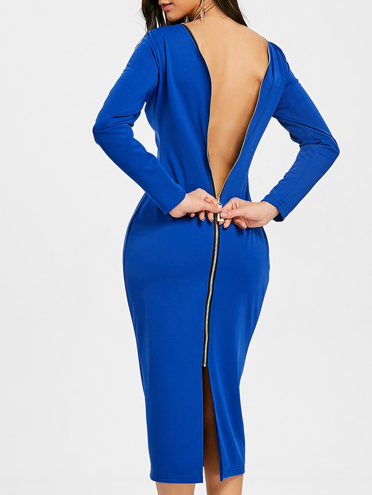 Sale Long Sleeve Back Zip Up Bodycon Dress