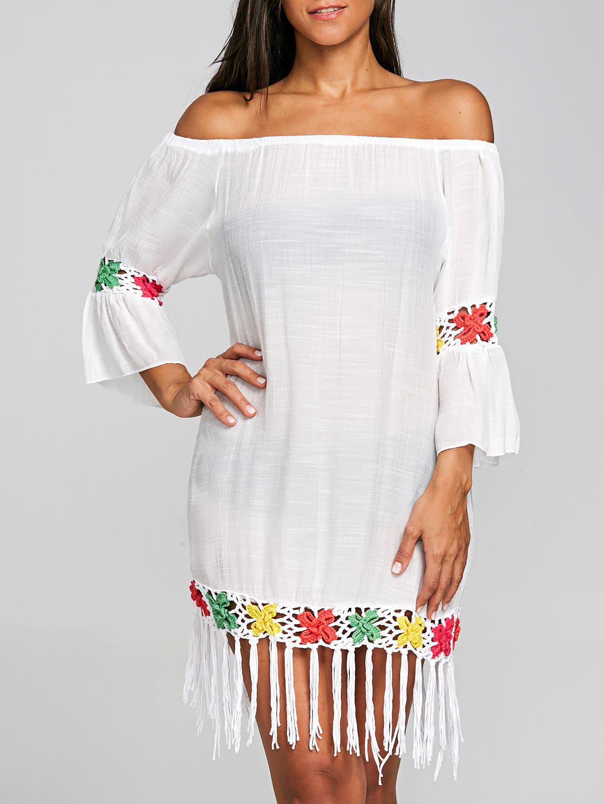 New Fringed Crochet Insert Cover Up Dress