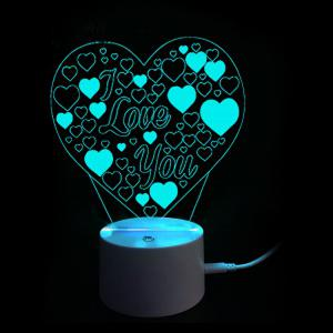 Lampe de Nuit à 9 Couleurs Changeantes avec Inscription I Love You Cadeau de Saint-Valentin Style 3D -